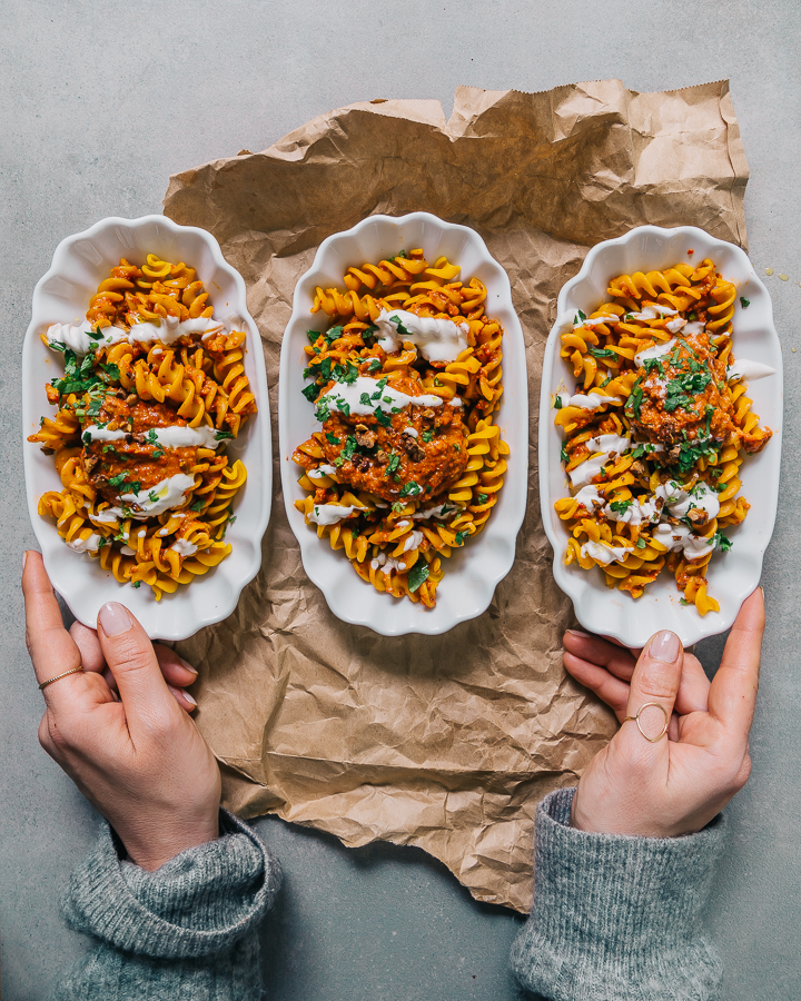 The Hungry Warrior - RED LENTIL PASTA + TURKISH RED PEPPER PESTO